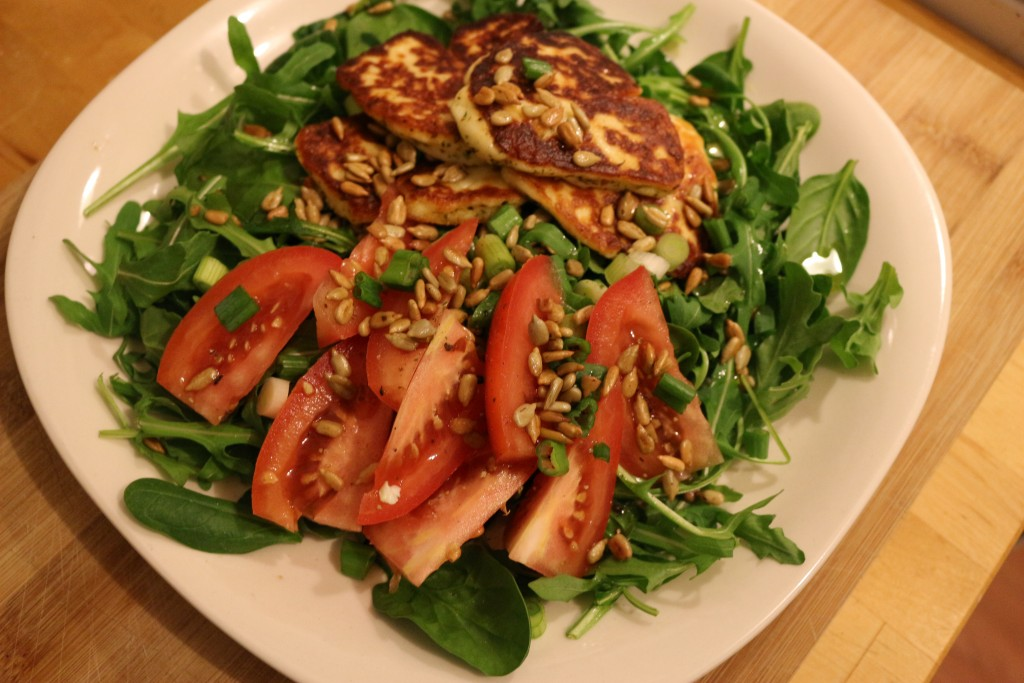 halloumi cheese with arugula and spinach…